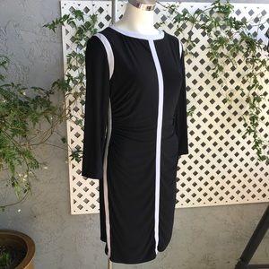 RALPH LAUREN Black White Colorblock Dress Sz 12